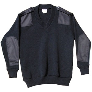 V Neck Patched Pullover With Buttoned Epaulettes